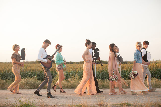 wedding parade in a field