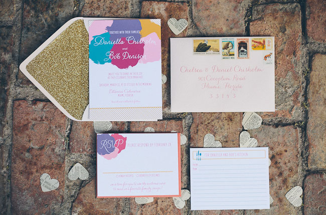 colorful and glitter invitation