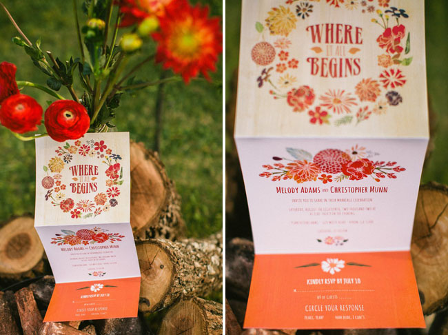 bright floral wedding invitation