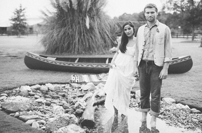 canoe bride and groom