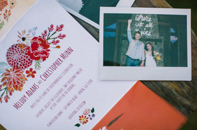 polaroid of bride and groom