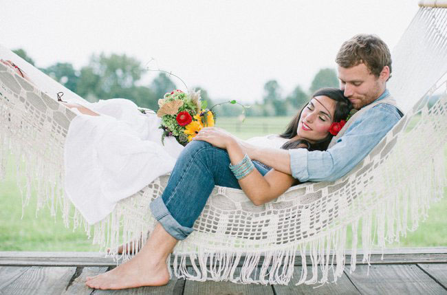 bride and groom in hammock