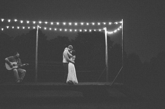first dance under string lights