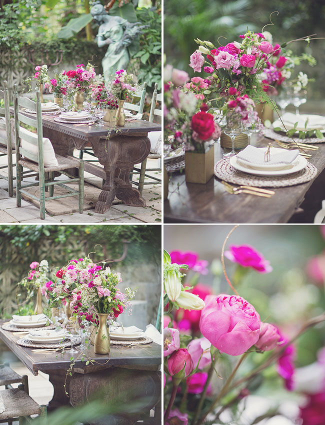 hot pink floral centerpieces