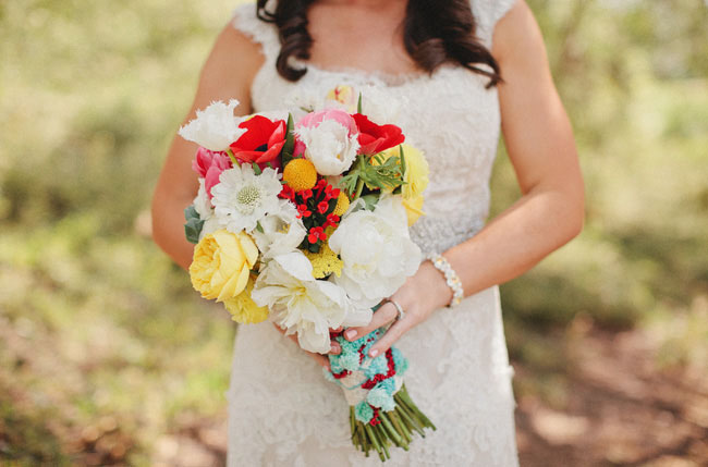 yellow and red bouquet