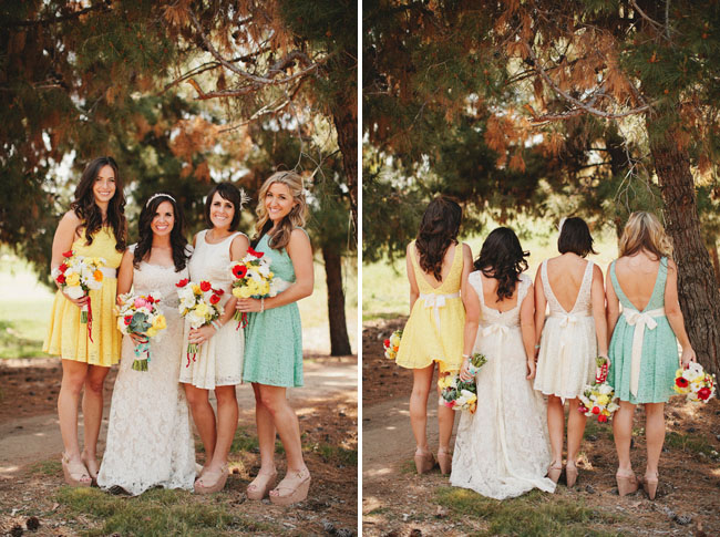 bridesmaids wearing bow sashes