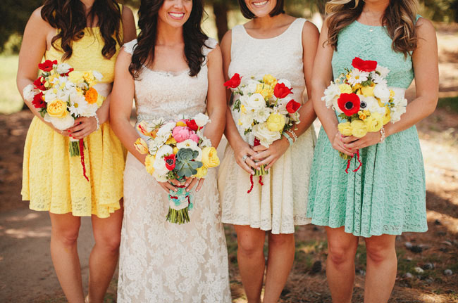 mismatched color bridesmaids