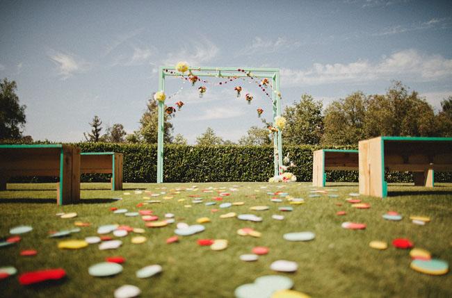 colorful ceremony arbor