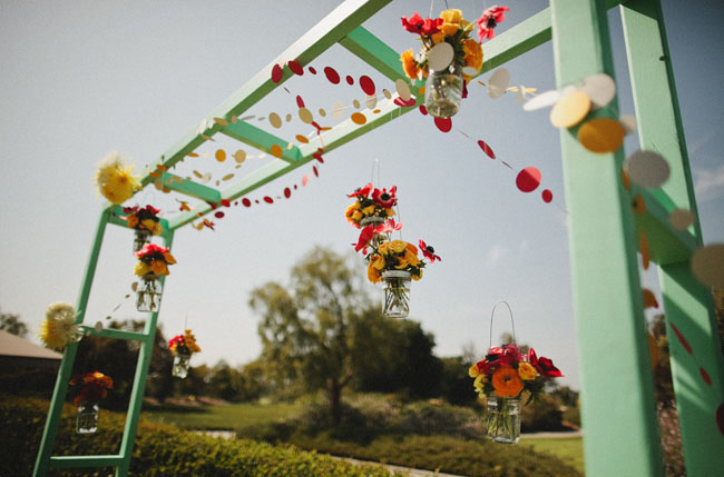 mint colored ceremony arbor