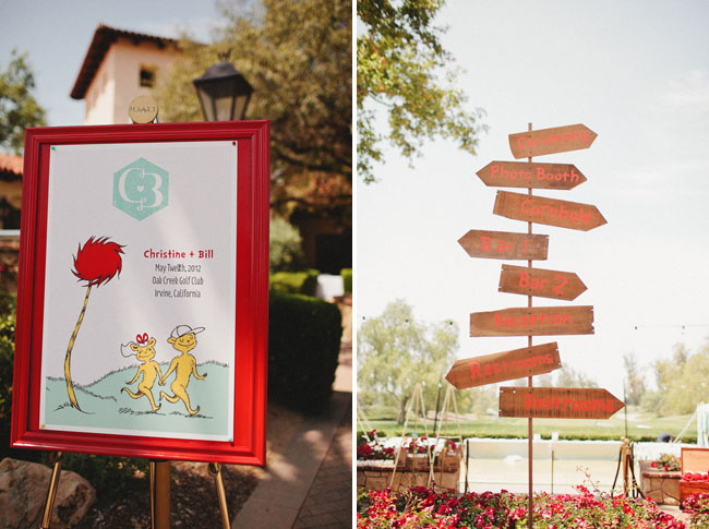 wooden arrow wedding sign