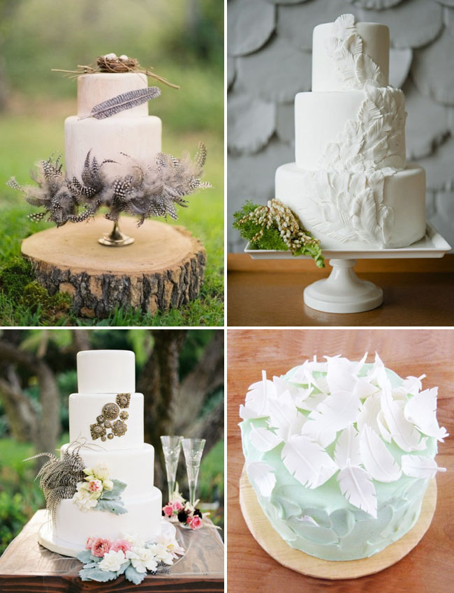Feathers On Cakes Are So Pretty Top Left Is By Erica O Brien And Photo Jose Villa Love The Simplicity Of This Cake Sweets Bake Via Ruffled Blog