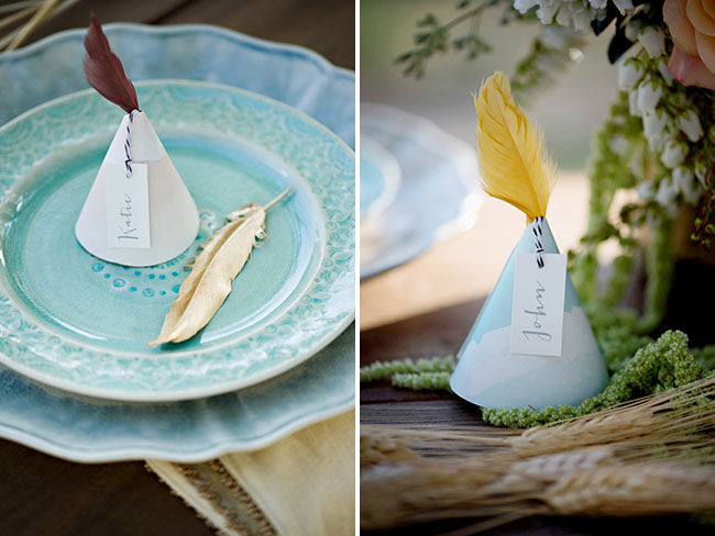 feather teepee place setting