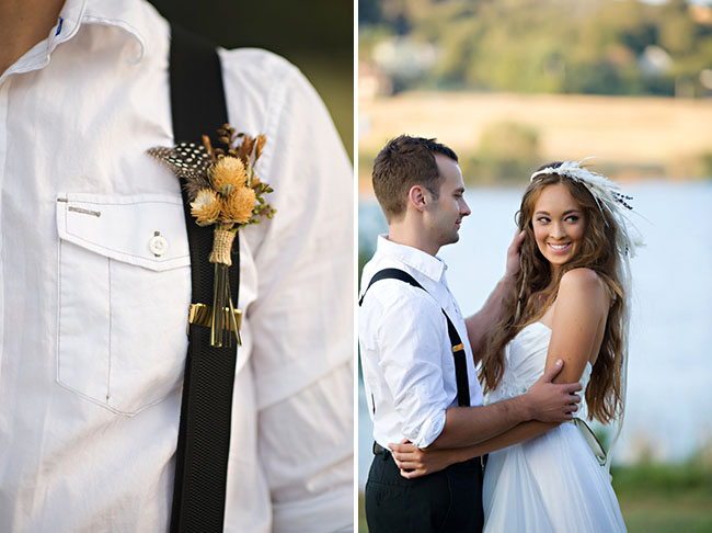 gold and feather boutonniere