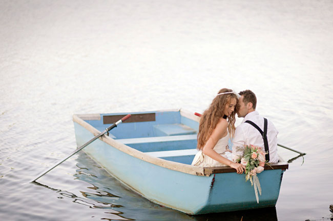 bohemian bride and groom canoe