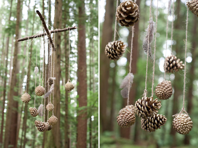 hanging pine cone mobile