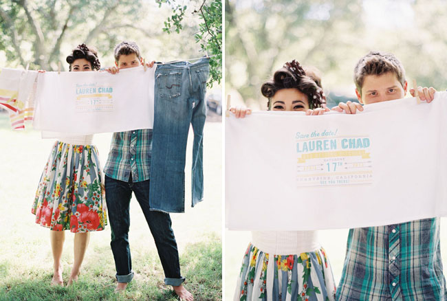 glamping engagement laundry line