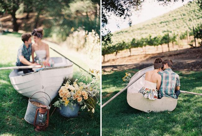 glamping engagement rowboat