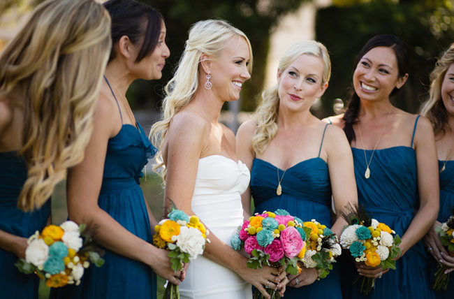 bridemaids in navy dresses
