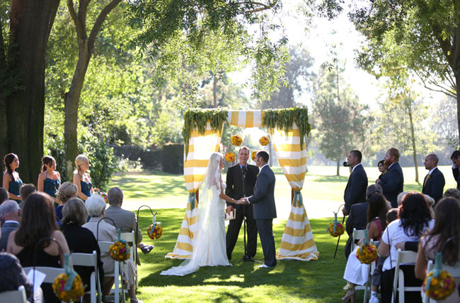 yellow stripe curtain ceremony altar