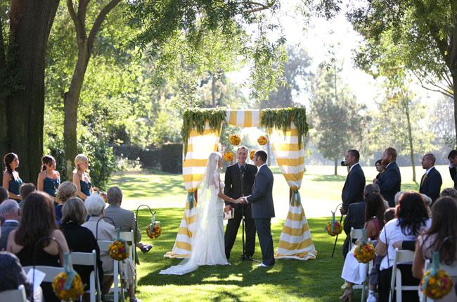 yellow stripe curtain ceremony altar
