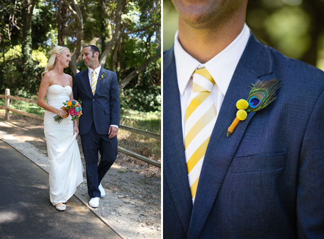 grooms peacock boutonniere