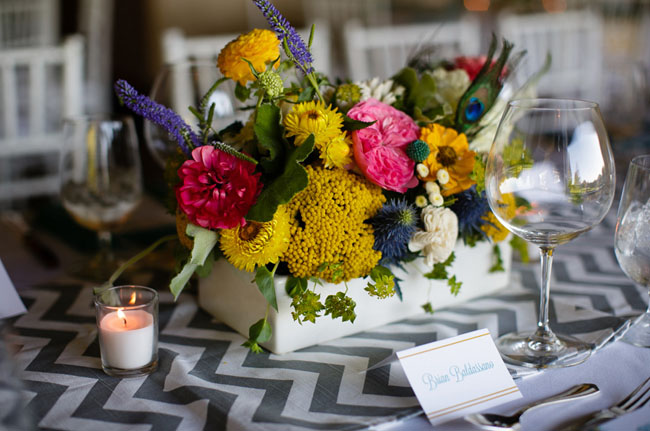 White Wooden Box Centerpieces. Teal Painted Table Numbers. Chevron Table  Runners