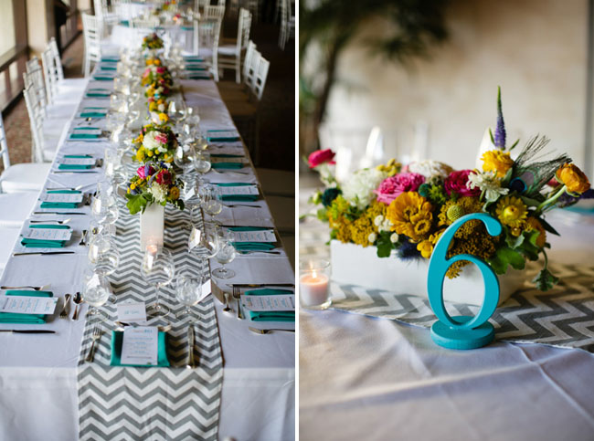 teal painted table numbers