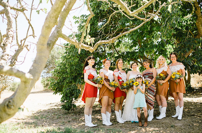 bridesmaids wearing boots