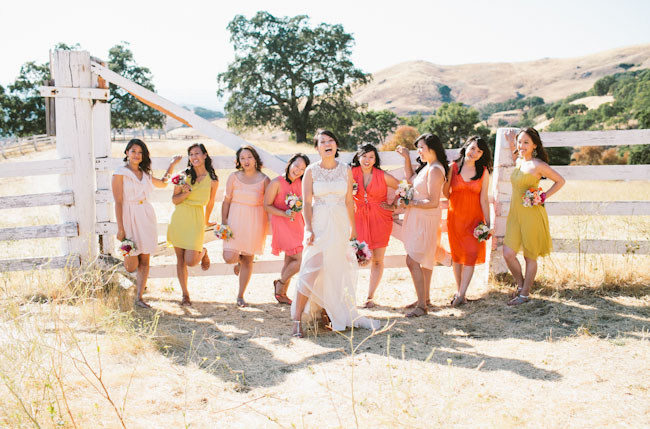 bridesmaids in pink and orange