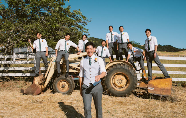 groomsmen on tractors