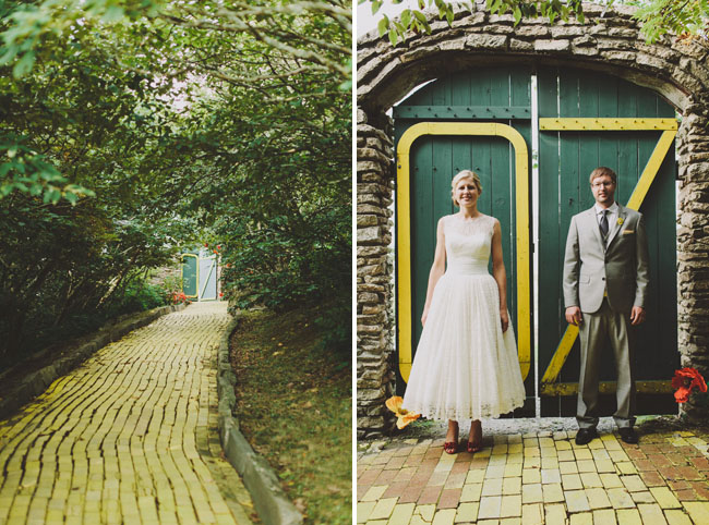 yellow brick road bride and groom