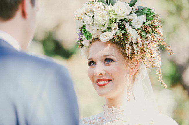 bride wearing red lipstick