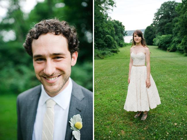 bride in tea length dress