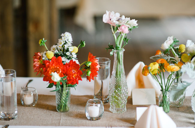bright florals in small vases