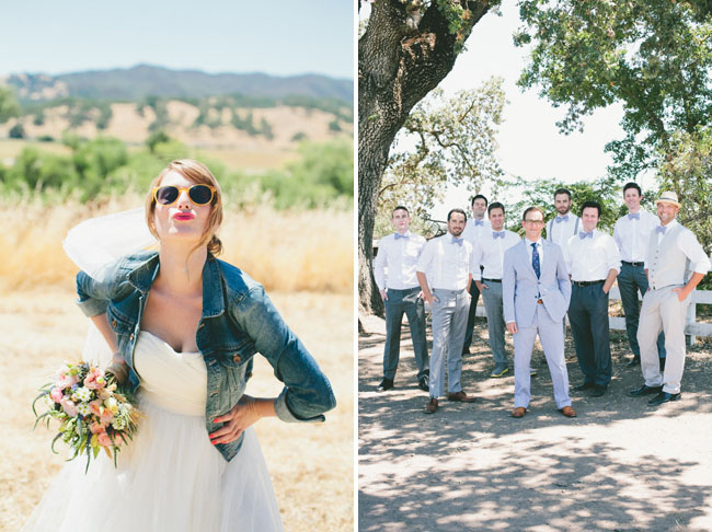 bride wearing jean jacket