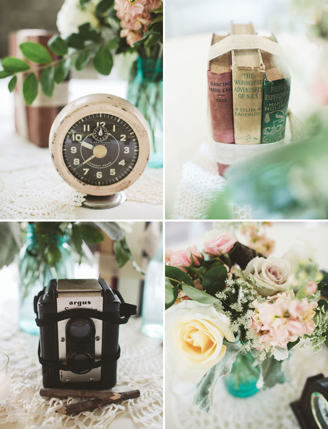 old clock, books tablescapes