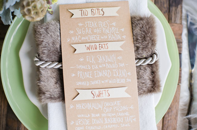 wooden banner menu card