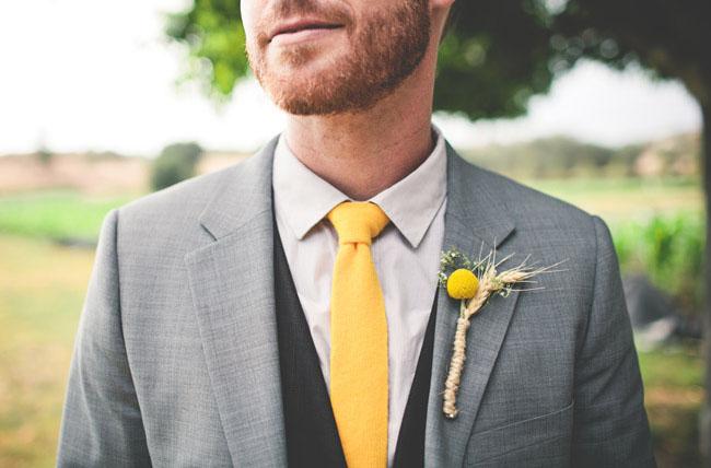 yellow grooms tie