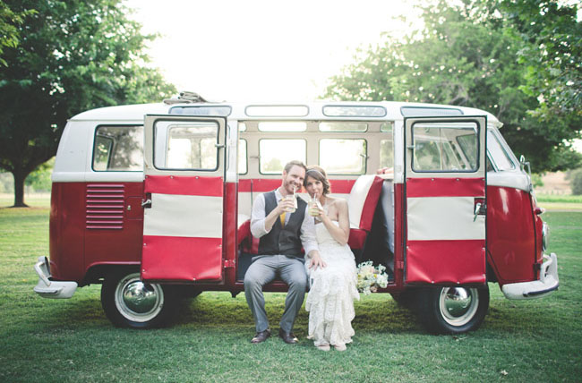 vw bus bride and groom