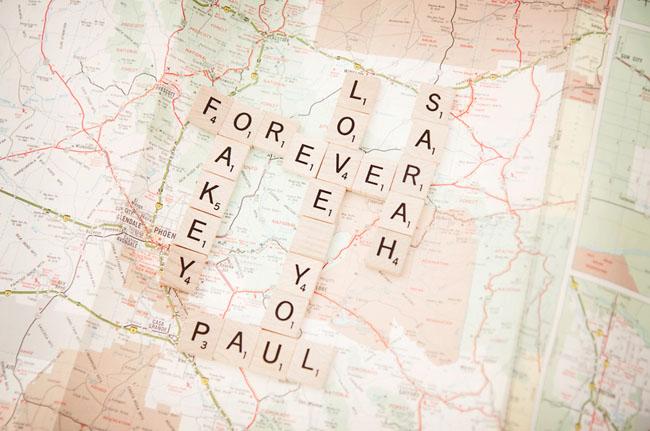 scrabble letters on map
