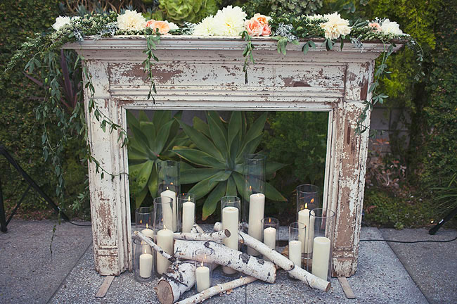mantle and wooden tree ceremony decor