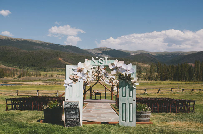 paper flower ceremony covering doors
