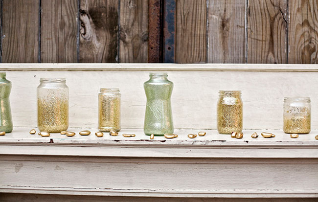 gold flecked vases
