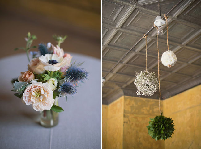 blue and blush centerpieces