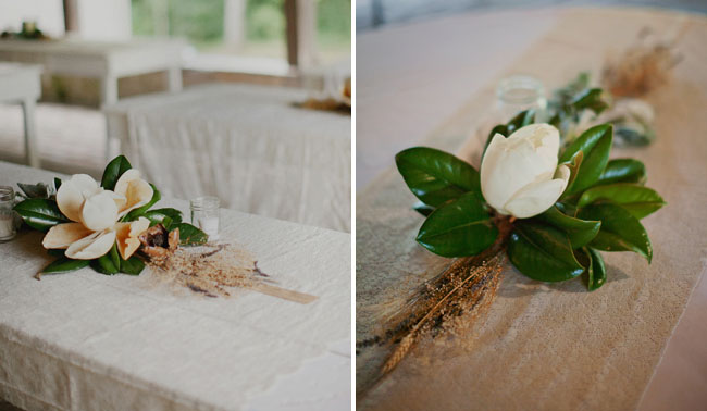 simple magnolia centerpieces
