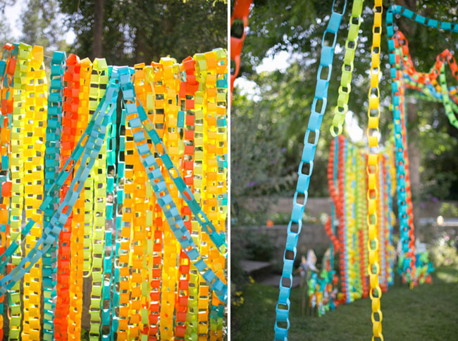 colorful paper chain ceremony decor