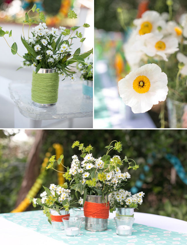 yarn wrapped tin can vases