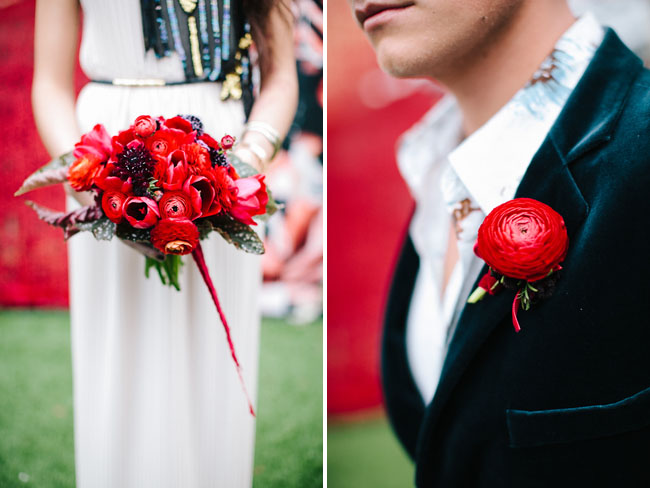 deep red boutonniere