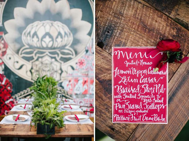 calligraphy dinner menu