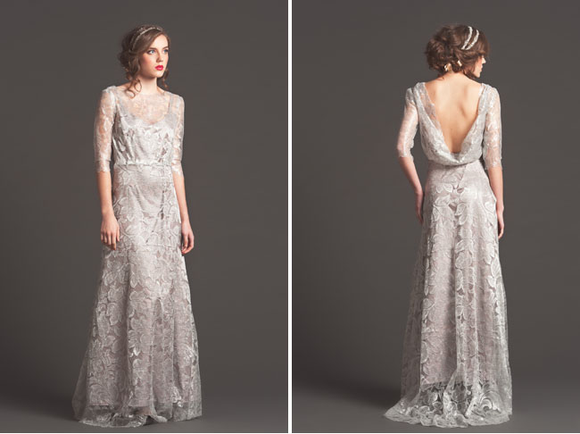 silver lace wedding dress sarah seven